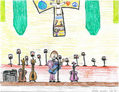 Cindy on Stage at Church, drawn by Libby Mullican